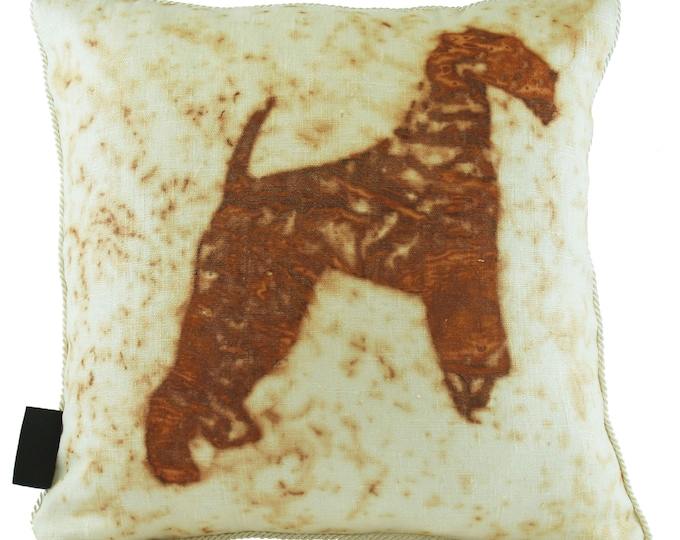 """Airedale Dog  Rusted Pillow Cover  16""""x 16"""""""