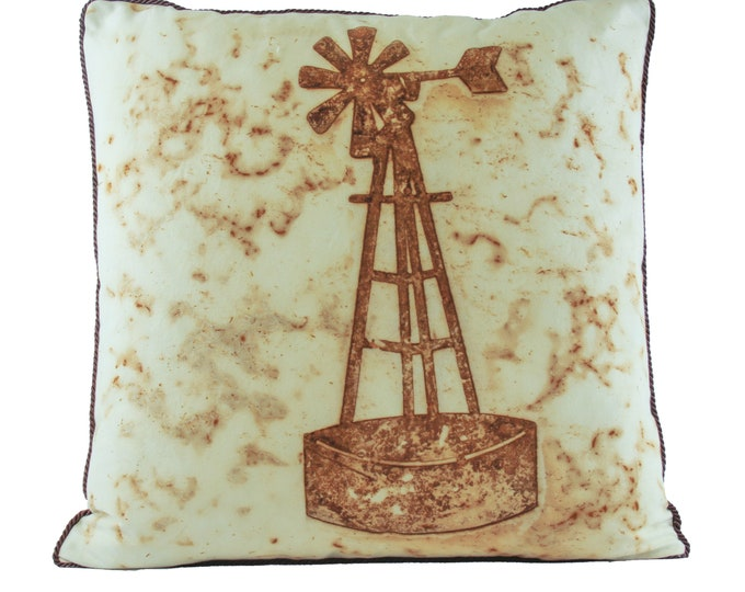 """Rusted Windmill Watering Hole  Pillow Cover  20""""x 20"""" - Made In Arizona"""