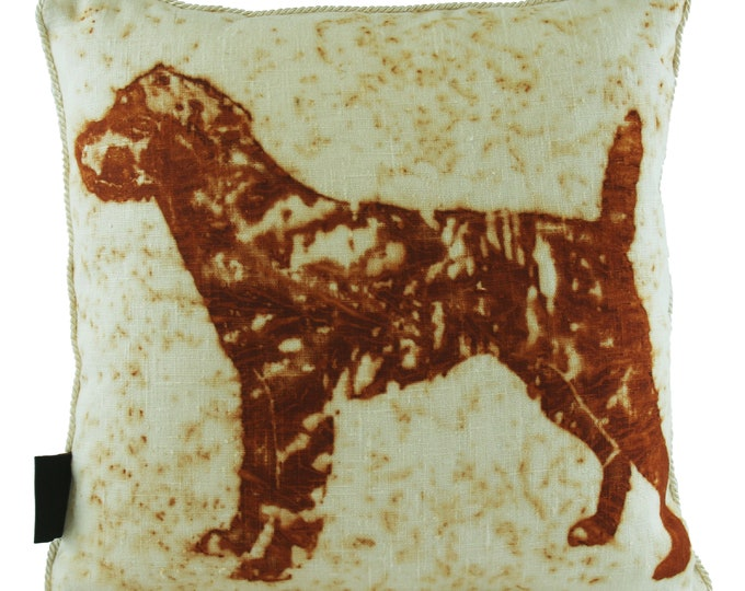 """Short Hair Terrier Dog  Rusted Pillow Cover  Linen Fabric 16""""x 16"""""""