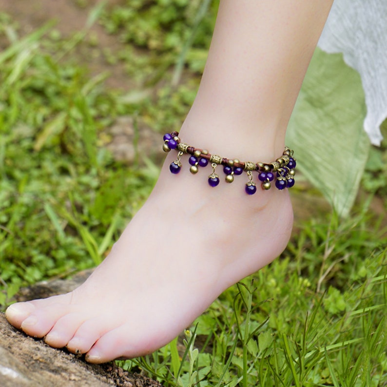 Chalcedony Anklets Chains  Braided Stone Foot ChainsVintage Bohemian Anklet Handmade Beads Anklets Beach AnkletWomen Ethnic Ankelets