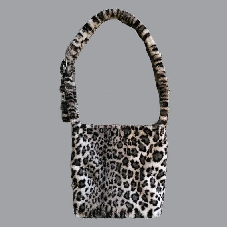 Gray Animal Print Fuzzy Purse Fluffy Snow Leopard Print Tote