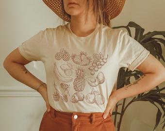 Vintage Fruit Shirt, Cottagecore Clothing, Vegan Shirt, Cute Fruit Shirt, Cottage Core Fruit Shirt, Strawberry and Pineapple Shirt