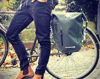 Bomence bike bag unisex, bike pannier, carrier bag, saddle bag, wheel bag, 25L, bag for bike, waterproof, green