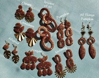 Pumpkin Spice Collection | Resin Earrings | Copper Earrings | Fall Earrings | Pumpkin Season Inspired | Elegant Unique Resin Earrings