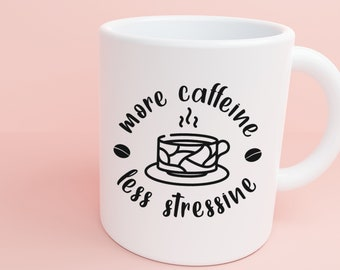 More Caffeine Less Stressine Decal, Coffee Stickers, Coffee Decals, Coffee Lovers, Iced Coffee, Espresso, Caffeine Lovers, Cold Brew Coffee