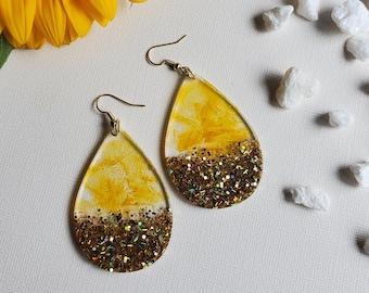 Sunflower Fields Collection | Fall Earrings | Fall Jewelry | Resin Earrings | Yellow Earrings | Gold Earrings | Sunflower Lover | Earrings