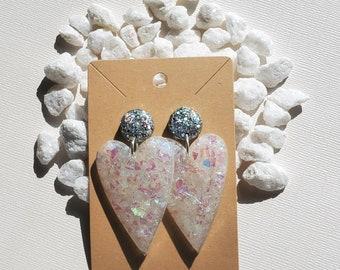 Statement Earrings | Heart Earrings | Resin Earrings | Bold Earrings | Glad Earrings | Opal Earrings | Gifts for Her