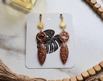 Pumpkin Spice Collection   Resin Earrings   Copper Earrings   Fall Earrings   Pumpkin Season Inspired   Elegant Unique Resin Earrings