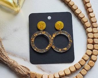Yellow Resin Earrings   Gold Flakes   Gold Flake Earrings   Resin Earrings   Yellow Earrings   Statement Earrings   Lightweight Earrings