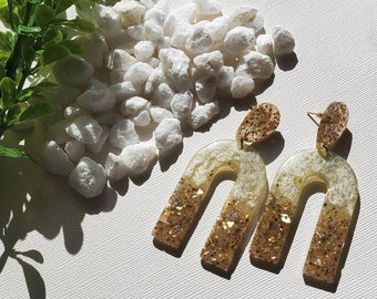 Resin Earrings | Elegant Earrings | Cream and Gold Earrings | The Gatsby | Handmade Jewelry | Handmade Earrings