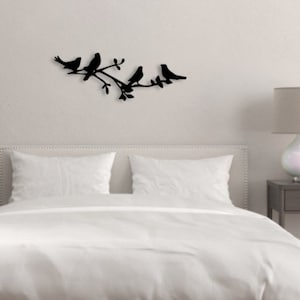 Four Birds On Branch Metal Wall Art Dd100 Etsy