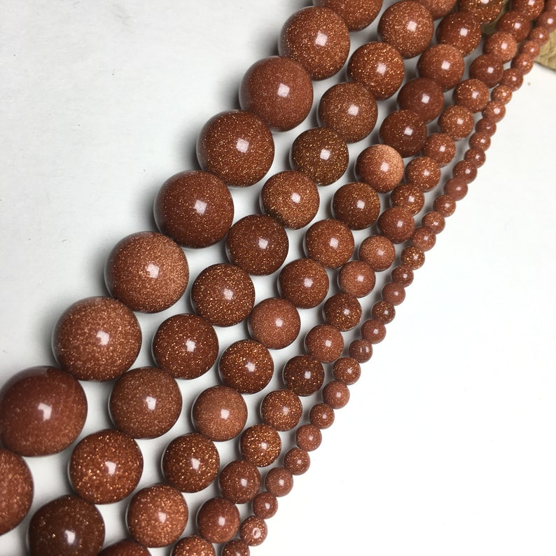 Genuine Natural gold Sand Stone Round Beads Energy Gemstone 8MM Loose Beads DIY Jewelry Making Design for Bracelet Grade AAA Full Strand 6MM