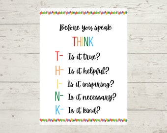 Before You Speak THINK Classroom Sign