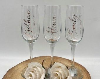 Personalised Champagne Flutes   Bridesmaid Gift   Custom   Birthday   Bachelorette Party   Girls Night   Gifts   Drinking Favors