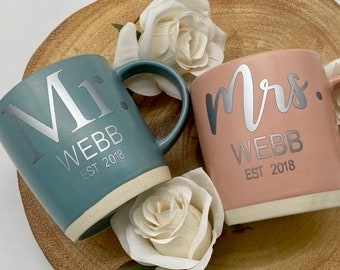 His and Hers Mugs, Cups, Couple Mugs, Valentines Gifts, Mug Set, Mr and Mrs, Engagement gift, Wedding Gift, Aniversary Gift