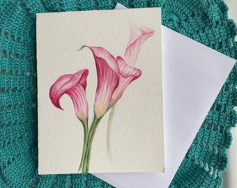 Set of 3/_ Original hand painted Watercolor Blue pink yellow  Butterfly/_blank greeting Thank you cards 4.5x5.5