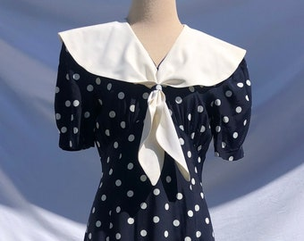 1980s Light Blue and White Striped Dress with Eyelet Bib Collar and Drop Waist