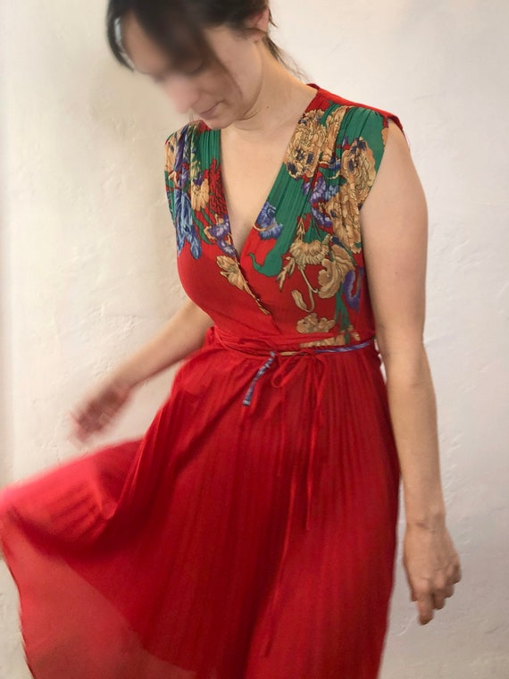 1970s Red Pleated Floral Dress