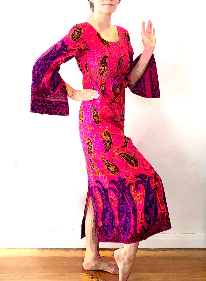 Late Sixties Flare Sleeved Hawaiian Hostess Maxi