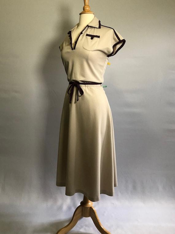 1970s Tan Dress with Dark Brown Trim by Nancy Gree