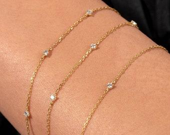 14k Solid Gold Diamond Bracelet / 0.08ct Diamond by the Yard Bracelet / 14k Gold Solitaire Diamond Bracelet / Diamond Solitaire Bracelet