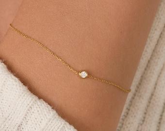 14K Diamond Bracelet/ 14K Gold Diamond Bracelet/ Diamond Solitaire Bracelet/ Dainty Diamond Bezel Bracelet/ Everyday Diamond Bracelet