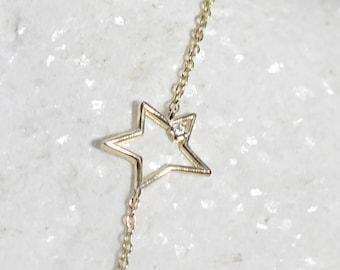 Diamond Star Bracelet  Dainty Diamond Star Charm Bracelet  Solid Gold Celestial Diamond Bracelet  Tiny Diamond Solid Gold Star Bracelet