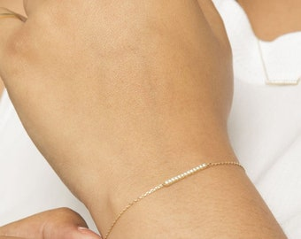 Christmas gift Custom Diamond Bar Bracelet Personalized Gift for women 14K Gold Name Bar