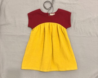 18-24mo Chiefs red and gold dress for toddler girls - Cotton and double gauze cap sleeve