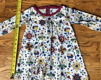 18-24mo Handmade dress or tunic in soft stretch jersey with zipper back for toddler girls - USED