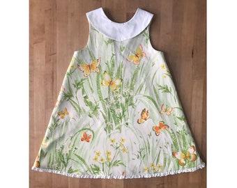 Sz 8/9 Swing dress for girls in vintage fabric - retro A-line dress made out of vintage fabric - swingy trapeze dress