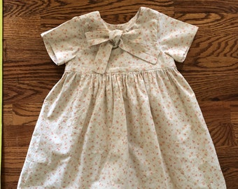 3T Cotton short-sleeve dress with bow for girls - button closure - USED