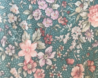 CUSTOM dress for baby, toddler, and girls - VINTAGE teal floral fabric