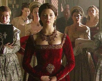 Bust 36 Red Satin and Silver Tudor Anne Boleyn Wedding Dress Medieval Costume OUAT Queen Costume The Tudors #27 Game of Thrones Gown