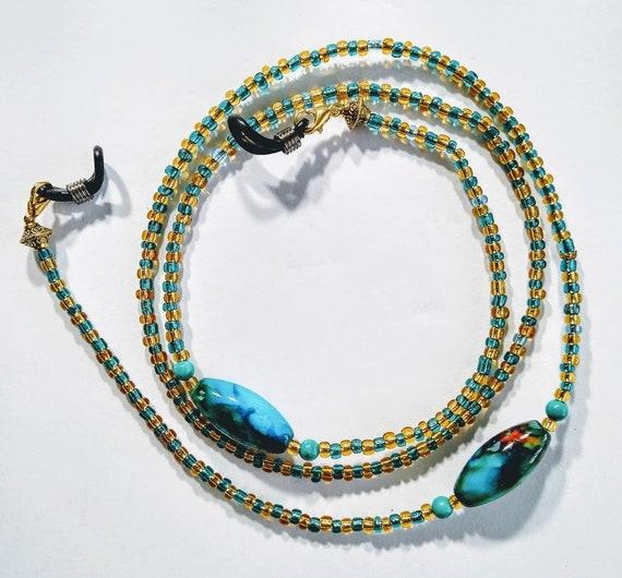 Blue glass bead glasses chain