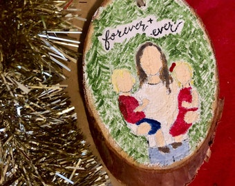 Family portrait wood slice ornament