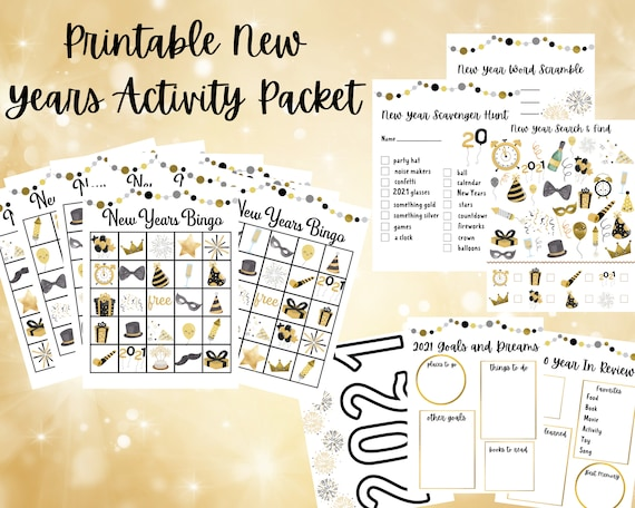 New Year's Activities and Games For Kids Printable New