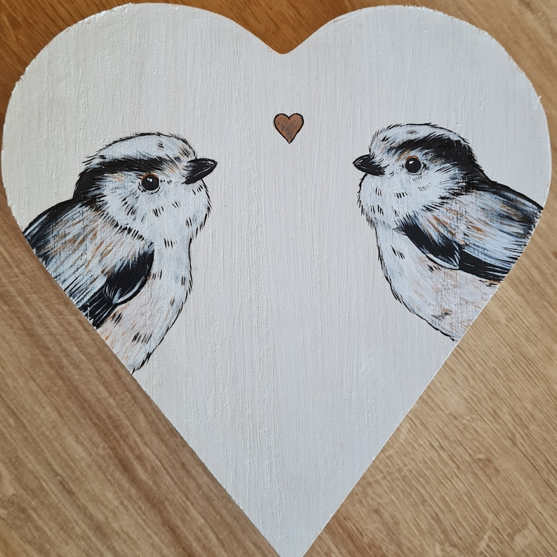 Hand Painted Long-tailed Tits Heart Shaped Wooden Box