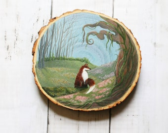 Wood Log Slice - Hand Painted Woodland Scene with Sitting Fox, Wall-hanging/Coaster/Placemat