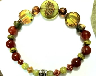 18mm Green Lotus bead// Olivine & Amber Czech Glass// Dyed Fire Agate 8mm//Pressed Glass Saturn Czech Glass beads 6mm, Antique Silver Spacer