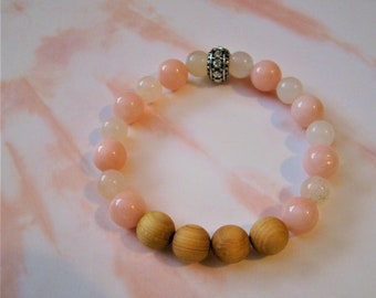 Opal Pink 8mm, Pink Quartz 10mm, Rhinestone Silver Focal, Raw Cedar Wood Diffuser beads. Mother's Day Gift ~ Aromatherapy ~ Essential Oil.
