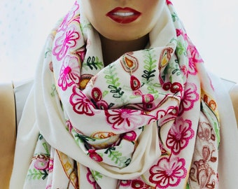 Cashmere Embroider Scarf - Cashmere Shawl - Embroider Shawl - White Cashmere Scarf - Woman Scarves, Fashion Scarves - Gift Ideas, Gift Scarf