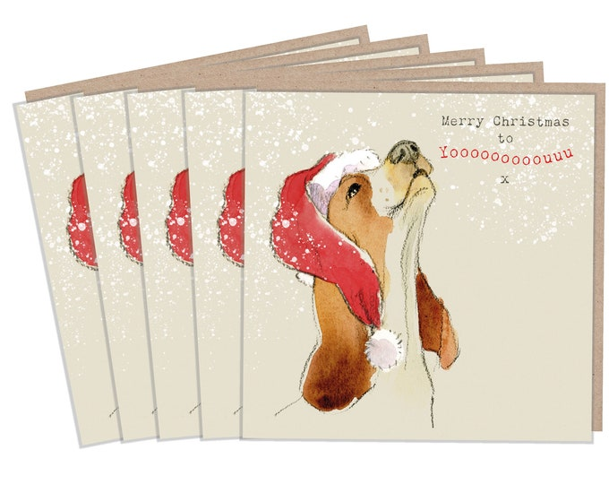 5 Quality Christmas Cards - 1 design 5 Cards  - Christmas Card pack - dog cards - Charming Basset illustration - Howling dog- Made in UK