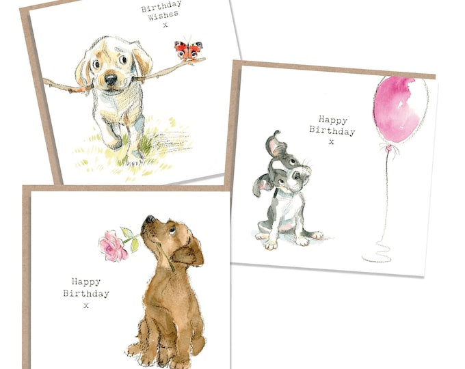 Pack of 3 Quality Birthday Cards - 3 designs - 1 of each design - pack of 3 cards- absolutely barking range -  made in England