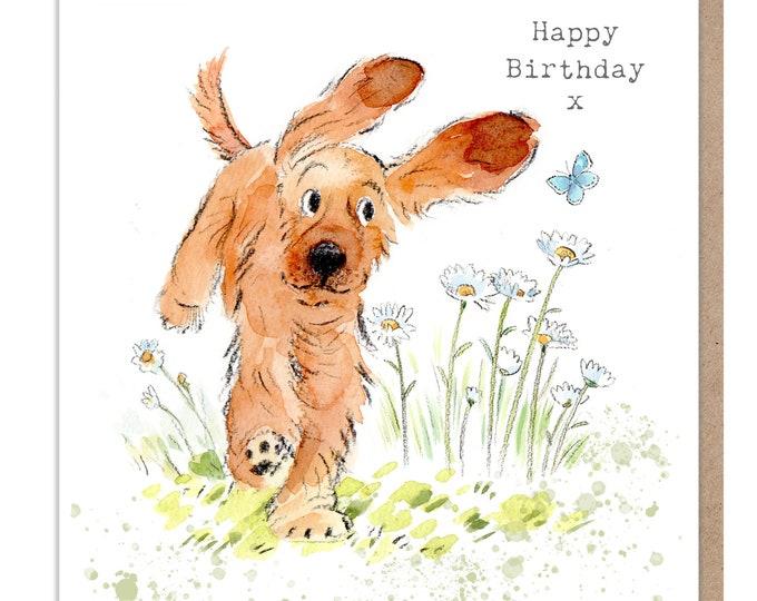 Dog Birthday Card - Quality Greeting Card - Charming illustration - 'Absolutely barking' range - Cocker spaniel- Made in UK -  ABE041