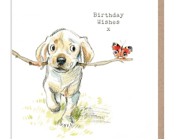 Dog Birthday Card - Quality Greeting Card - Charming illustration - 'Absolutely barking' range -  Labrador puppy - Made in UK -  ABE03