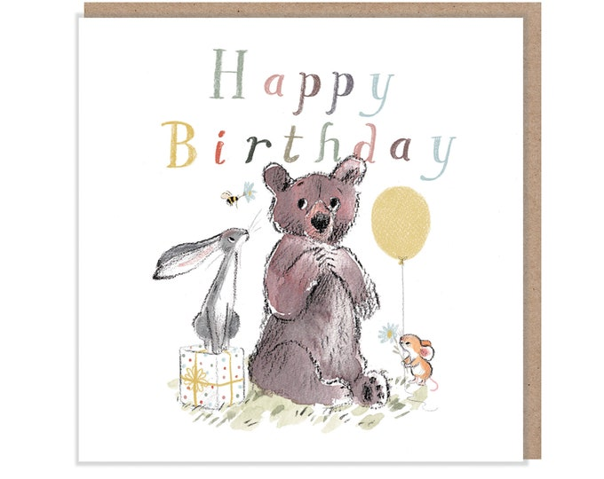 Happy Birthday, Quality Greeting Card, 'the Bear, the Hare, and the Mouse' , heart warming Illustrations, made in UK, no plastic, BHME03