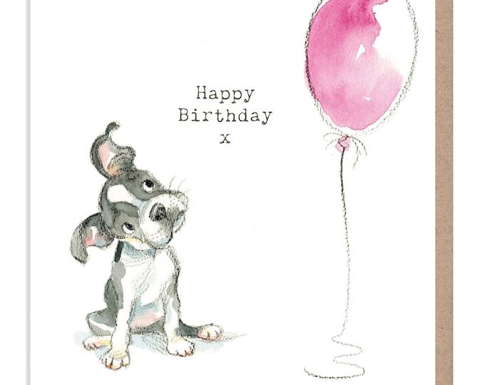 Dog Birthday Card - Quality Greeting Card - Charming illustration - 'Absolutely barking' range - French Bulldog - Made in UK -  ABE04