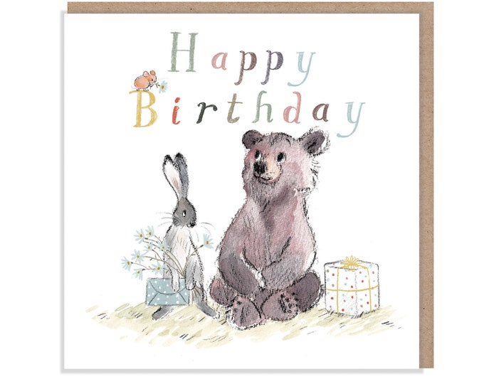 Happy Birthday, Quality Greeting Card, 'the Bear, the Hare, and the Mouse' , heart warming Illustrations, made in UK, no plastic, BHME011