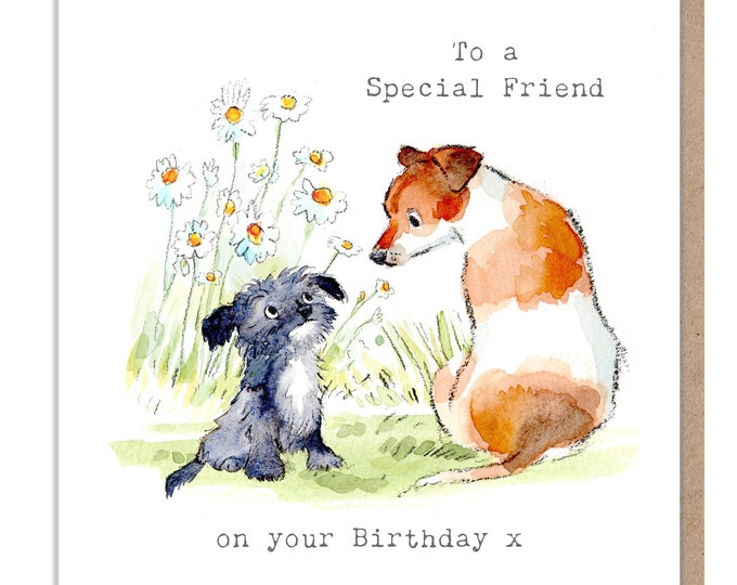 Special Friend Birthday - Quality Greeting Card - Charming illustration - 'Absolutely barking' range - Terriers - Made in UK - ABE09